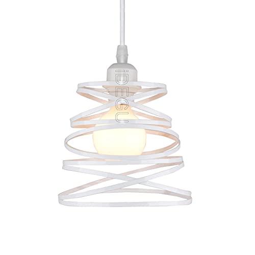 iDEGU - Lámpara de techo moderna con diseño en espiral de cascada con bola de mimbre, estilo vintage, metal, E27, lámpara colgante para dormitorio, salón, cocina, color blanco, 20 cm