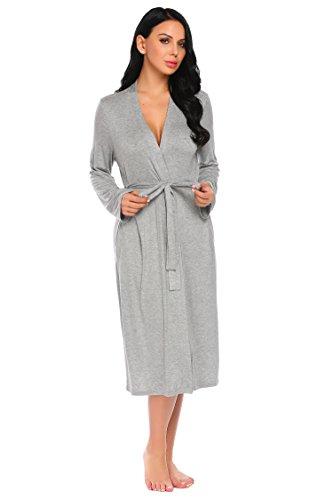 ADOME Damen Bademantel Morgenmantel Robe Saunamantel mit V Ausschnitt Lang Reisebademantel Kimono Pyjama für Herbst Winter Frauen Grau