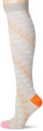 Calcetines de presión deportivos Calcetines de compresión con calcetines de compresión elásticos de cañón largo Electrocardiograma blanco L/XL