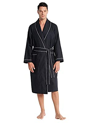 SIORO Men Waffle Weave Cotton Robes Lightweight Shawl Collar Bathrobe Long Absorbent Knit Shower Bath Housecoat M-XXL