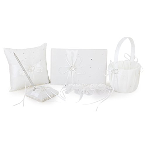 FOREVER YUNG 5 Pieces Double Heart Set Including Wedding Guest Book, Pen, Ring Pillow, Wedding Basket And Garter Set Ivory