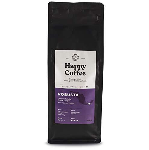 HAPPY COFFEE Bio Espressobohnen 500g [ROBUSTA] nussig I Frische fair-trade Kaffeebohnen direkt aus Mexiko I Arabica Kaffee ganze Bohnen I Ideal für Vollautomat und Siebträger