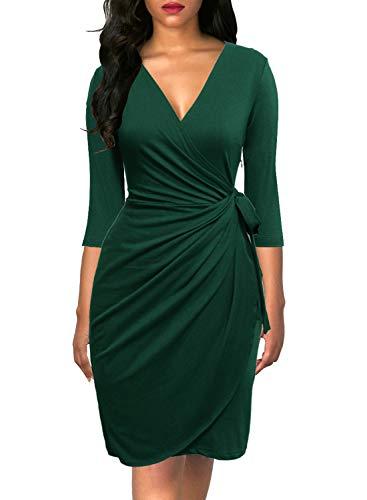 Berydress Women's Classic 3/4 Sleeve V Neck Sheath Casual Party Work Faux Black Wrap Dress (M, 6083-Dark Green)