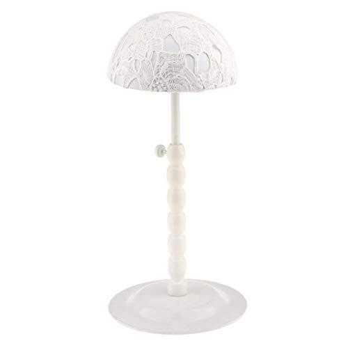 Backbayia Huthalter mit Spitze, verstellbar, für Hüte, Vitrine, Regal für Perücken weiß