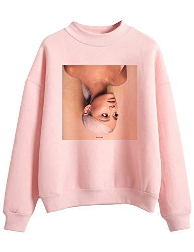 Trend Singer Ariana Grande Felpa per Donna Ragazza,Ariana Grande Thank u, Next Felpa Hoodie Pullover Tinta Unita Maglione Manica Lunga per Donna Ragazza (Rosa2,M)