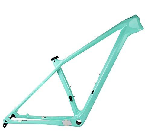PPLAS 2021 Nuevo Marco de Carbono MTB 27.5er 29er Marco de Bicicleta de montaña de Carbono 148x12mm o 142 * 12 mm MARCHOS DE Bicicleta MTB (Color : Mint Green Color, Size : 15in Glossy 148x12)