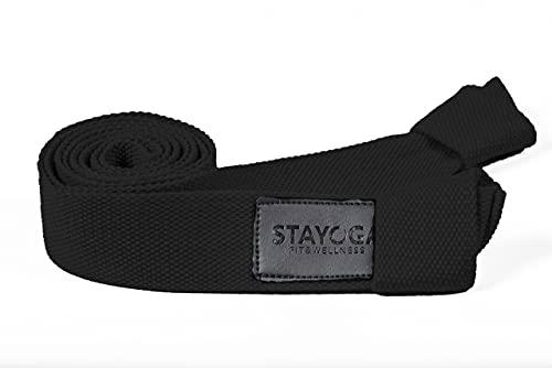 STAYOGA Porta Esterillas de Yoga de 100% algodón de Color Negro. Se Puede Usar como cinturón para estiramientos y Ejercicios. Ajustable, Antideslizante y Transpirable.