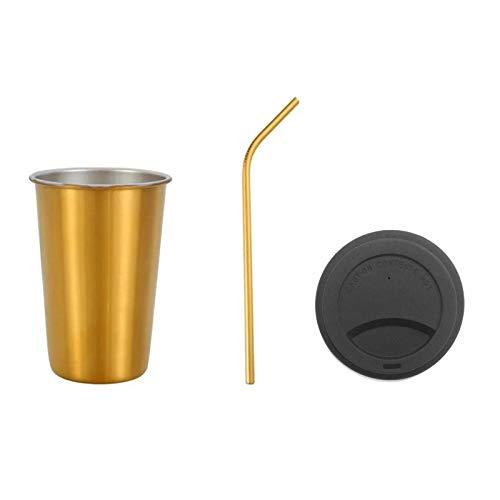 lijun Taza de Acero Inoxidable de 500 ml con Tapa, Pajita para Beber, Taza de Viaje, Vaso de té y café