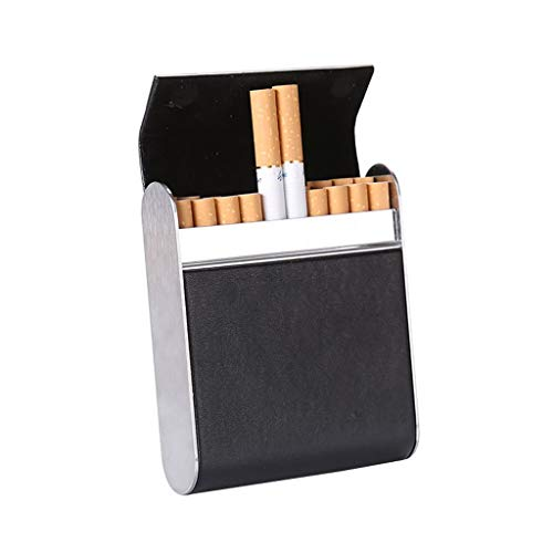 M-JJZX Estuche de Cigarrillos para Mujer y Hombres Portátiles Portátil de cigarro Topo de Cuero PU Cigarette Cigarette Caja de Almacenamiento Organizador (Color : Black)