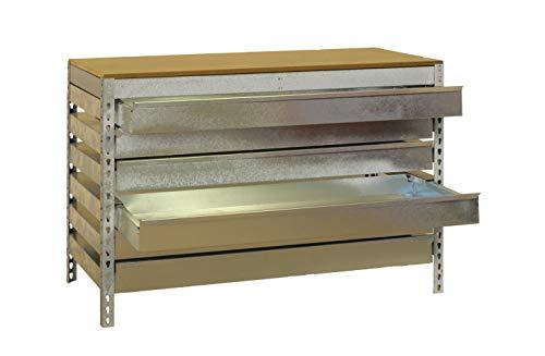 Banco de trabajo BT5 con cajón Simonwork Galva/Madera Simonrack 842x910x610 mms - banco de trabajo con cajones - mesa con cajones 600 Kgs de capacidad por estante