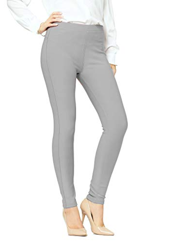 Premium Women's Stretch Ponte Pants - Dressy Leggings with Butt Lift - Classic - Grey - Large-X-Large