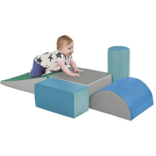 ECR4Kids-ELR-12683F SoftZone Climb and Crawl Activity Play Set – Lightweight Foam Shapes for Climbing, Crawling and Sliding for Toddlers and Kids (5-Piece), Contemporary