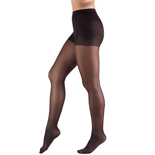 Truform Sheer Compression Pantyhose, 8-15 mmHg, Women's Shaping Tights, 20 Denier, Black, Queen