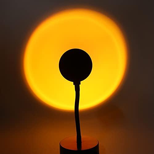 Lampe de Coucher du Soleil Projecteur de Coucher de Soleil Veilleuses de Projection Rotation à 180 Degrés Lampe de Projection Arc-en-ciel Led, Lumière LED Visuelle Romantique(Coucher de soleil)