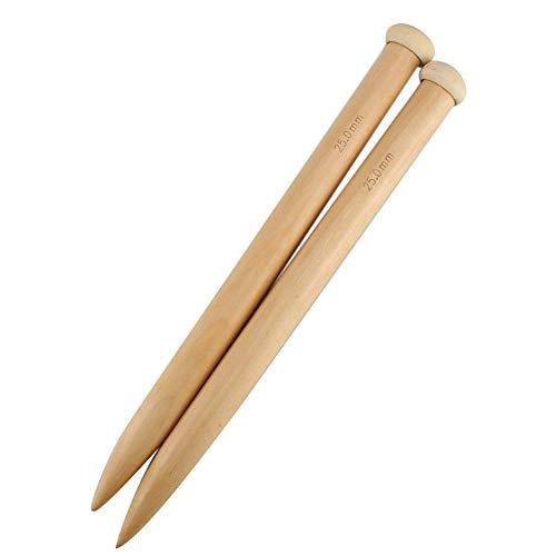 gfhjgjhj Aguja de tejer de madera Jumbo recta, 15/20/25 mm, hilo de punto para tejer de madera, accesorios para manualidades, bufanda, suéter, 2 unidades