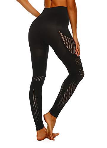 FITTOO Damen Power Flex Yoga Hosen Training Laufende Leggings Active Leggings Slimming Seamless Pants Schwarz - Design 4 M