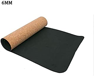 Yoga Mat Cork Sports Yoga Mat Cork Natural Rubber Yoga Mat TPE Fitness Non-Slip Exercise Pilates Workout Black 4