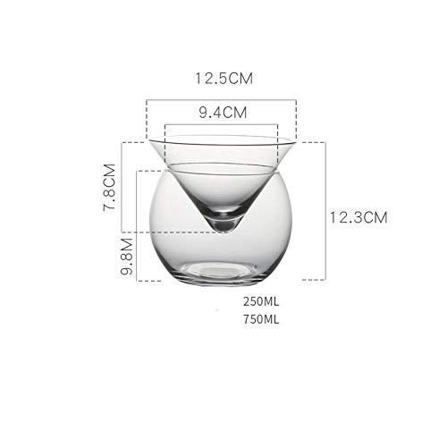 NOBRAND Molecular Mixología Interlayer Triangle Copa de Vino de cristal helado Cono Martini Globular Set Bartender Taza especial para beber