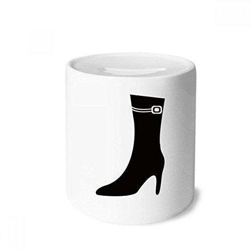 DIYthinker Simple Graphics Schwarz High Heels Silhouette Spardose Sparkassen Keramik Münzfach 3.5 Zoll in Height, 3.1 Zoll in Duruchmesser Mehrfarbig