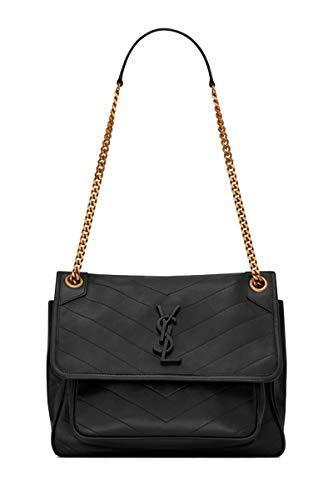 Saint Laurent Women'S Niki Medium Black Lambskin Shoulder Bag Crossbody Bag