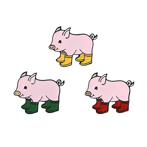 HCMA 3 Piezas de Dibujos Animados Cute Piggy Pretty Rain Boots Jump In The Mud Pit Broche Bolsa Denim Collar Accesorio Broche Piggy Zapato Broche
