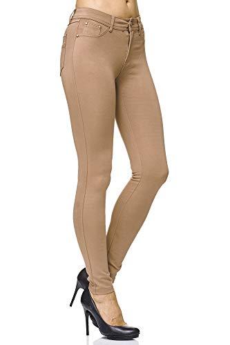 Elara Damen Stretch Hose Skinny Fit Jegging Chunkyrayan H10 Taupe 38 (M)