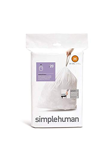 simplehuman CW0168 Code H, Custom Fit Bin Liners, 20 Liners, wit, 30-35 L