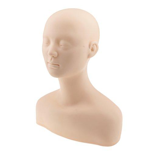 MagiDeal Weich Silikon Mannequin Kopf als Make-up Trainingskopf Friseur Schminkkopf Wimpernverlängerung Kosmetik Massage Übungskopf oder als Schaufenster Dekokopf