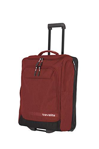 travelite Trolley Reisetasche Größe S Handgepäck, Gepäck Serie KICK OFF: Praktische Reisetasche mit Rollen für Urlaub und Sport, 006909-10, 55 cm, 44 Liter, rot