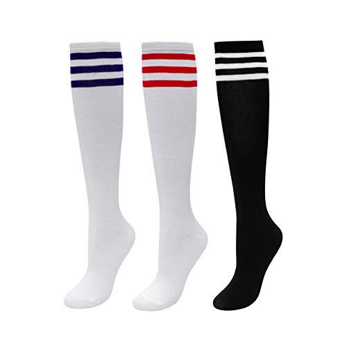 CHIC DIARY Kniestrümpfe Damen Mädchen Fußball Sport Socken College Cheerleader Kostüm Strümpfe Cosplay Streifen Strumpf, 3 Paar(schwarz+weiß Blau/Rot Streifen), Einheitsgröße
