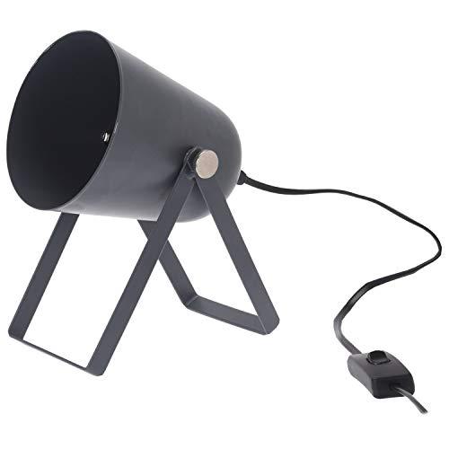 Graue Stehlampe die das Licht fast 360° drehen kann. Benötigt E14 Glühbirne (nicht enthalten). Größe: 12x14,4cm