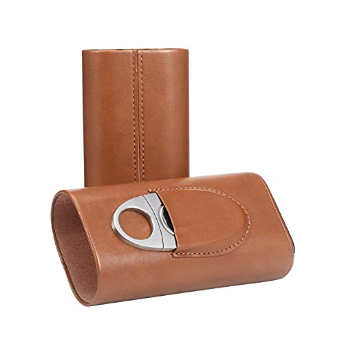 Ekkhysis Cigar Case for Men, Leather Cigar Travel Case with Cutter, Spanish Cedar Wood Lined Cigar Humidors Gifts for Men(Brown)