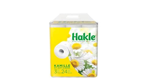 Hakle Toilettenpapier Kamille (24 x 150 Blatt) mit Kamillenduft, sanft pflegendes WC Papier mit Aloe Vera Extrakten, 3-lagiges Klopapier für die tägliche Reinigung