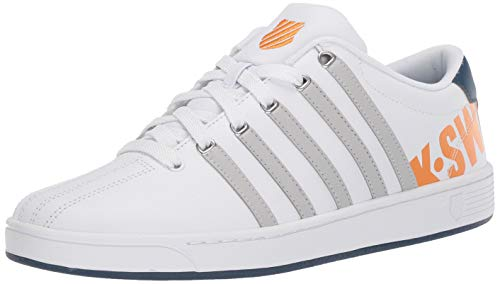 K-Swiss Herren Court PRO II CMF XL Turnschuh, Weiß/Vapor Blue/Majolica Blue/Blazing Orange, 45.5 EU