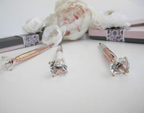 Pen Gift Set for Women - 3 Rose Gold Big Diamond Pens with Crystals in a Pink Gift Box – Rose Gold, White, Rose Gold, Fancy, Bling Top Ballpoint Writing Pens, Black Ink/Medium Point Photo #2