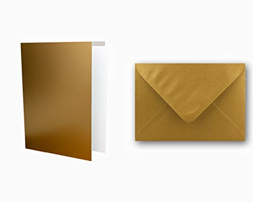 25x Einladungskarten Set inklusive Briefumschläge & extra Einlegeblätter - Blanko Klapp-Karten in Gold im DIN A6 Format - speziell zum Selbstgestalten & Kreieren