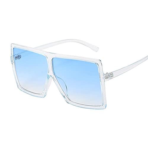 Gafas De Sol Mujeres Gafas De Sol Mujer Plaza Plana Top Gafas De Sol De Lujo Vintage Uv400 Sunglass Shoes Gafas-Trans Blue