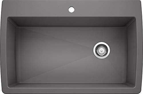 BLANCO 441467 Diamond Super Single Silgranit Drop-in or Undermount Kitchen Sink, 32.5' X 22', Cinder