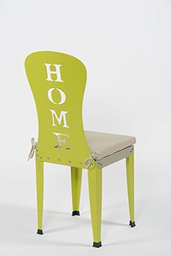 Styl'Métal 21 Lot 2 chaises Lilou Home métal Vert anis et Taupe + Coussins Taupe