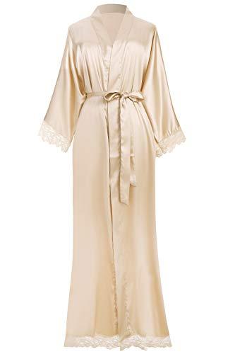 ArtiDeco Damen Morgenmantel Maxi Lang Seide Satin Kimono Kleid Einfarbiger Bademantel Damen Lange Robe Reine Farbe Schlafmantel 135 cm Lang (Champagner Lang)