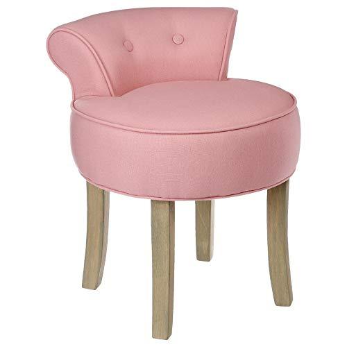 Atmosphera Taburete Pouf con Respaldo - Lino Y Algodon - Color Rosa Suave