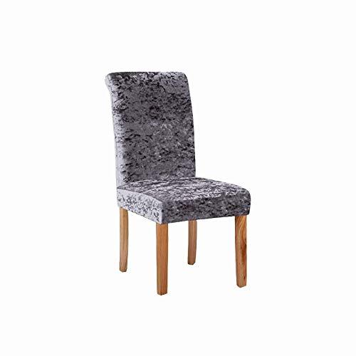KYJSW Fundas elásticas de terciopelo aplastado para sillas de comedor, 1/2/4/6 piezas de licra elástica, funda protectora para silla de comedor, decoración de banquetes de boda (gris, juego de 1)