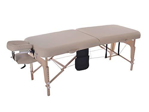 MASSUNDA COMFORT DELUXE -Massage-Liege klappbar und höhenverstellbar-185cmx71cm -7,5cm, mobiler Massagetisch aus Vollholz mit Flanellbezug,Armschlaufe,Nackenkissen,ergonomische Kopfstütze