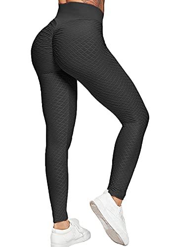 FITTOO Mallas Pantalones Deportivos Leggings Mujer Yoga Alta Cintura Transpirables Running Fitness Gran Elásticos Negro L