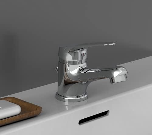 EISL NI075SCR, Badarmatur, Einhebelmischer mit Ablaufgarnitur, besonders platzsparender Wasserhahn, ideal für kleine Waschbecken, Chrom, Speed Waschtischarmatur Weiß