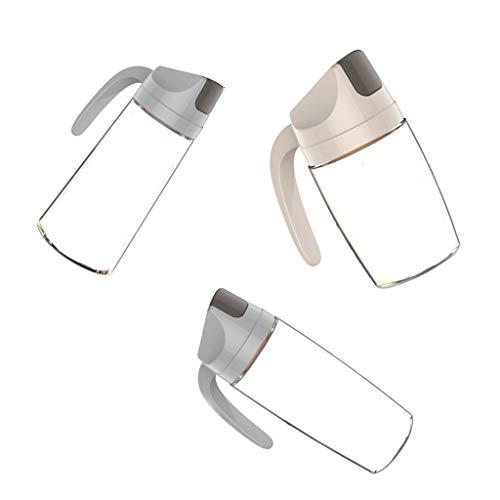 FLAMEER Aceitera Antigoteo Cristal Transparente de Auto Apertura y Cierre a Prueba de Polvo de 3 Pedazos, 300ml 600ml 630 ml