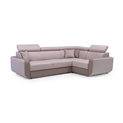MOEBLO Ecksofa mit Schlaffunktion Eckcouch mit Bettkasten Sofa Couch L-Form Polsterecke Celine (Cappuccino, Eckosfa Rechts)