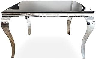 Meubler Design Table De Salle à Manger Carrée Baroque 140 Cm X 140 Cm - Ema - Noir