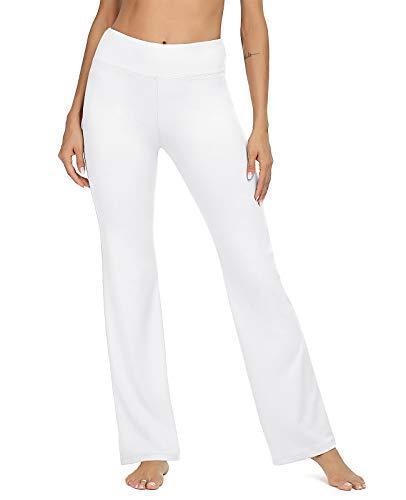 VIISHOW Women's High Waist Boot-Cut Yoga Pants Tummy Control Workout Yoga Pants(White,X-Large)