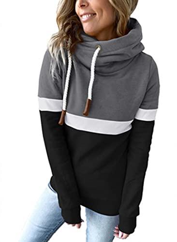 SLYZ Tops De Otoño Europeos Y Hermosos Suéteres Casuales De Mujer Suéteres con Capucha De Cuello Alto con Costuras De Color Sólido para Mujer